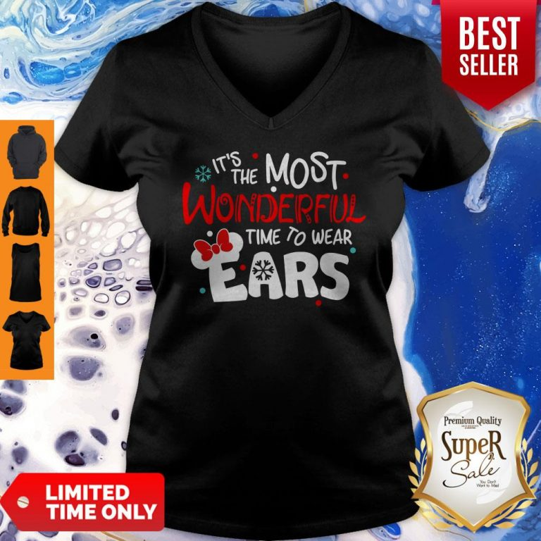 Premium Disney Minnie Mouse It's The Most Wonderful Time To Wear Ears V-neck