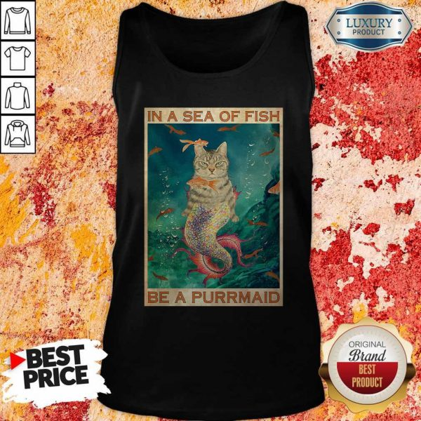 Funny Cat In A Sea Of Fish Be A Purrmaid Tank Top