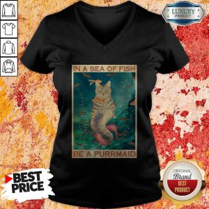 Funny Cat In A Sea Of Fish Be A Purrmaid V-neck
