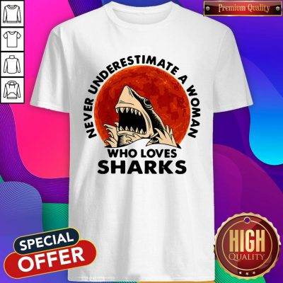 Funny Never Underestimate A Woman Who Loves Sharks Shirt