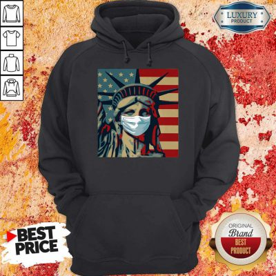 Funny Statue Of Liberty Mask American Flag Independence Day Hoodie