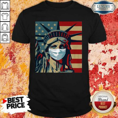 Funny Statue Of Liberty Mask American Flag Independence Day Shirt