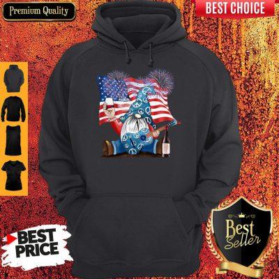Good Gnomes Wine Guitar American Flag Veteran Independence Day Hoodie