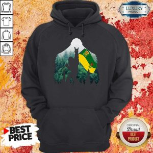 Nice Bigfoot Saskatchewan Flag In The Forest Hoodie