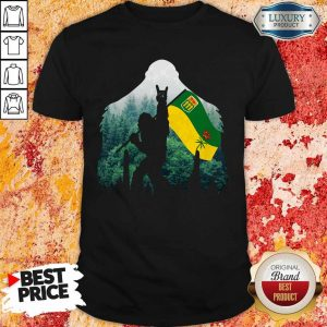 Nice Bigfoot Saskatchewan Flag In The Forest Shirt
