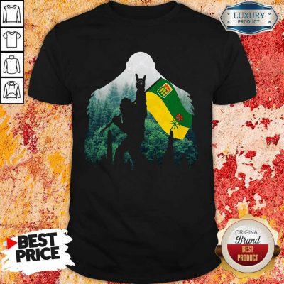 Nice Bigfoot Saskatchewan Flag In The Forest Shirt