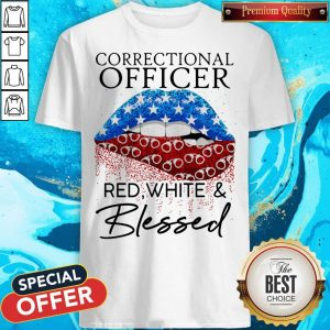 Nice Lip Correctional Officer Red White And Blessed Diamond Shirt