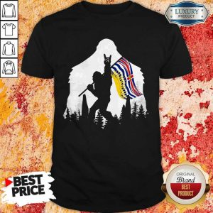 Official Bigfoot British Columbia Flag In The Forest Shirt