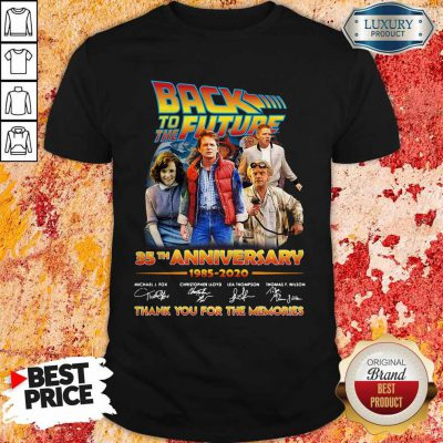 Original Back To The Future 35th Anniversary 1985 2020 Thank You For The Memories Signatures Shirt
