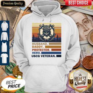 Premium Husband Daddy Protector Hero Army Uscg Veteran Vintage Hoodie