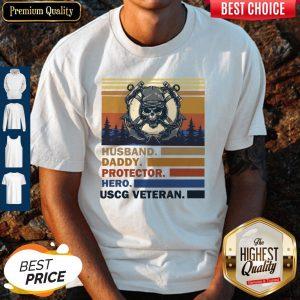 Premium Husband Daddy Protector Hero Army Uscg Veteran Vintage Shirt
