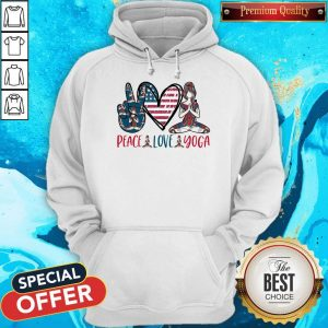 Premium Peace Love Yoga America Flag Hoodie
