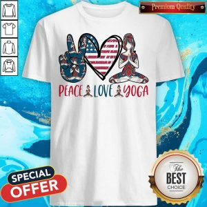 Premium Peace Love Yoga America Flag Shirt