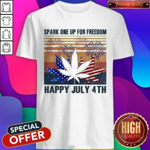 Premium Weed Fireworks Spark One Up For Freedom Happy July 4th Independence Day Shirt