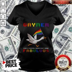 Pretty LGBT Duck Gaymer Like A Normal Gamer But More Fabulous V-neck
