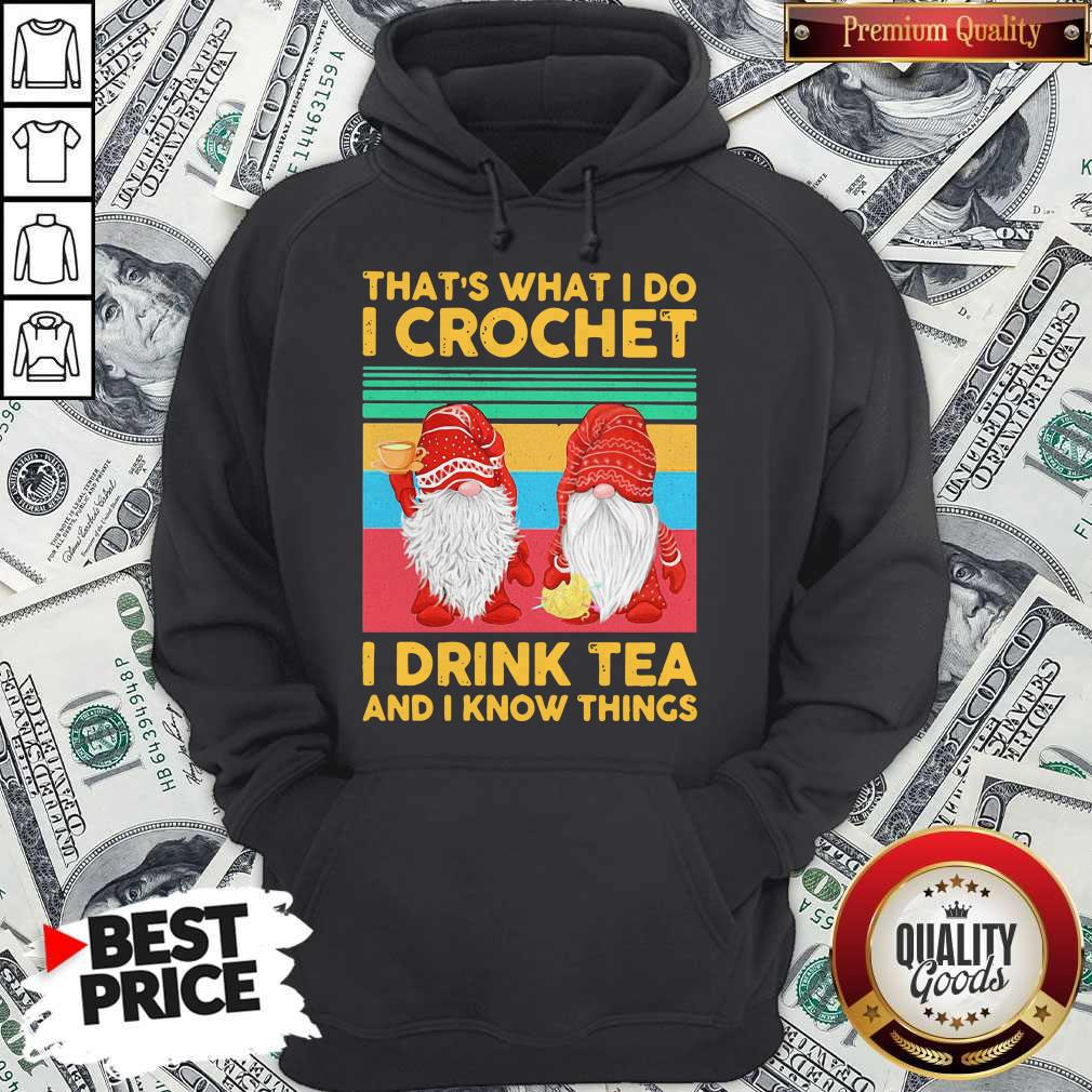 Funny Gnomes That's What I Do I Crochet I Drink Tea And I Know Things Vintage Hoodie