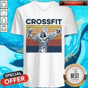 Good Jesus Strong Crossfit Vintage V-neck