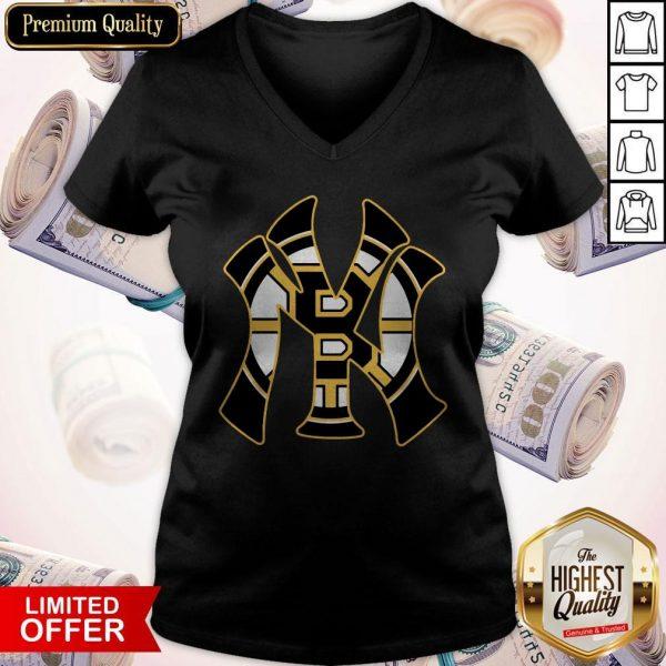 Nice Boston Bruins Inside New York Yankees V-neck