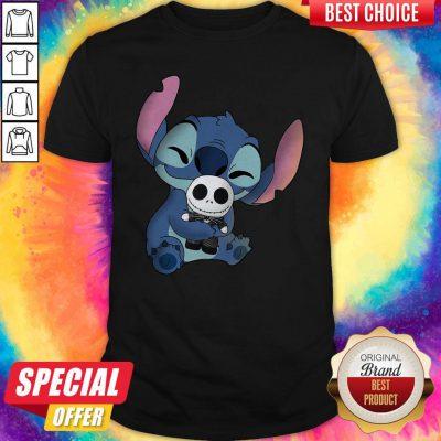 Official Stitch Hug Jack Skellington Shirt