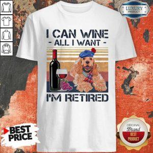 Original I Can Wine All I Want I'm Retired Poodle Dog Vintage Retro Footprint Shirt