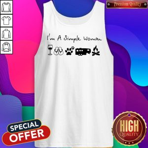Perfect I'm A Simple Woman Wine Flip Flop Dog Paw Camping And Campfire Tank Top