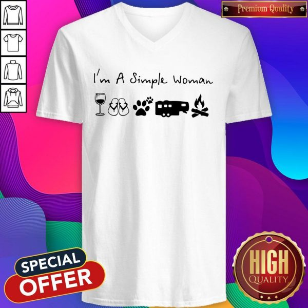 Perfect I'm A Simple Woman Wine Flip Flop Dog Paw Camping And Campfire V-neck