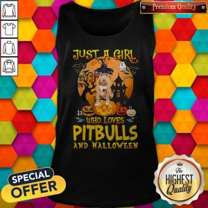 Perfect Just A Girl Who Loves Pitbull And Halloween Pumpkin Tank Top