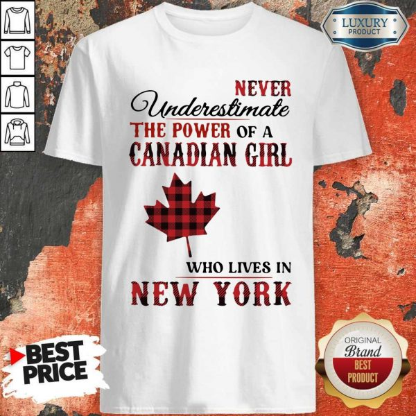 Pretty Never Underestimate The Power Of A Canadian Girl Who Lives In New York Shirt