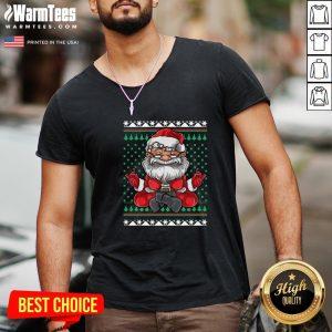 Beautiful Christmas Santa Yoga V-neck - Design By Warmtees.com