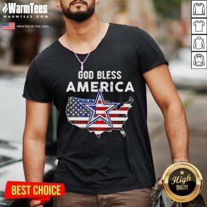 Funny God Bless America V-neck - Desisn By Warmtees.com