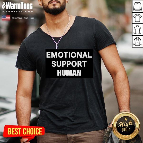 Happy Emotional Support Human V-neck - Desisn By Warmtees.com