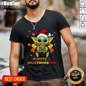 Hot Baby Yoda Hug Dollar General Happy Hallothanksmas V-neck - Desisn By Warmtees.com