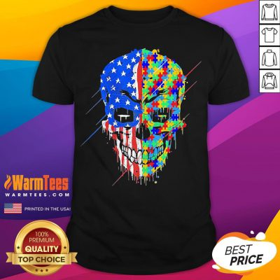 Hot Buy Spooky Skull Autism Awareness US Flag American Support Shirt- Desisn By Warmtees.com
