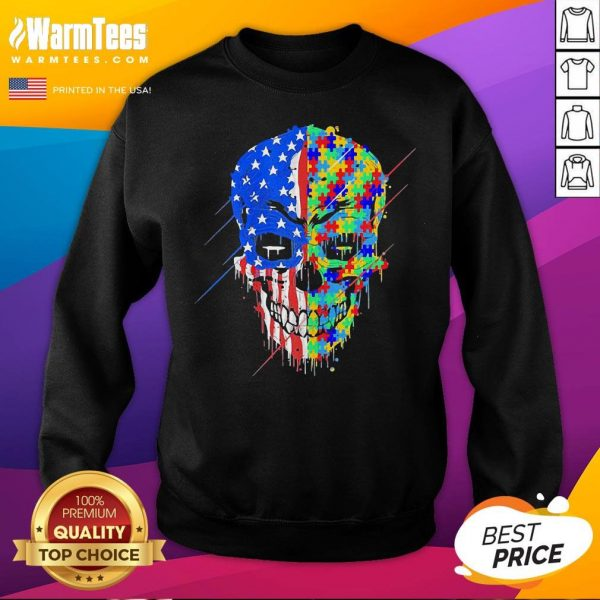 Hot Buy Spooky Skull Autism Awareness US Flag American Support Sweatshirt - Desisn By Warmtees.com