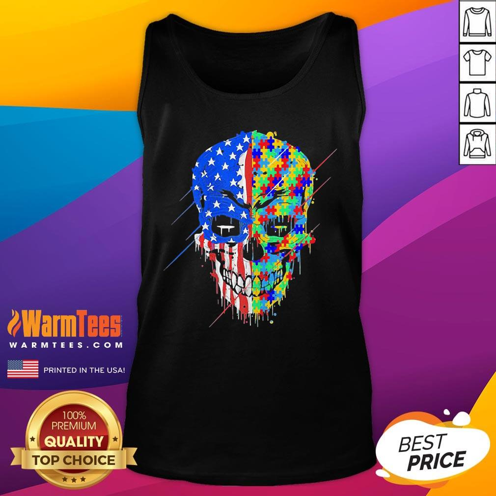Hot Buy Spooky Skull Autism Awareness US Flag American Support Tank Top - Desisn By Warmtees.com