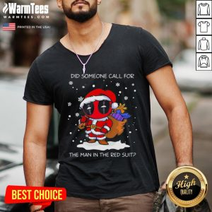 Hot Christmas Deadpool Santa Did Someone Call For The Man In The Red Suit V-neck - Desisn By Warmtees.com
