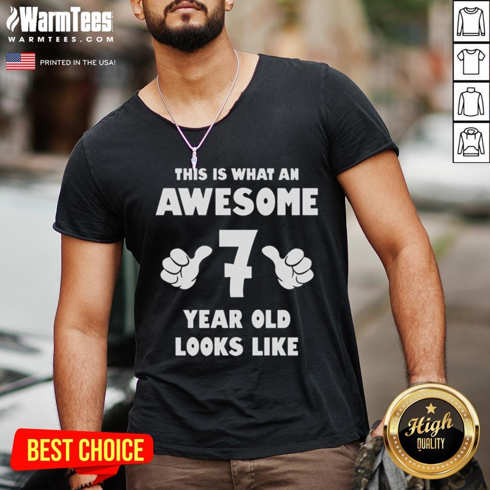 Hot This Is What An Awesome 7 Year Old Looks Like Birthday Youth Kids V-neck - Desisn By Warmtees.com