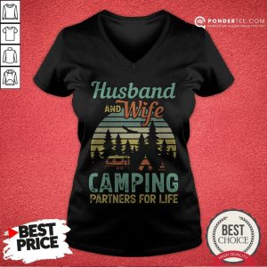 Husband And Wife Camping Partners For Life Retro V-neck - Desisn By Warmtees.com