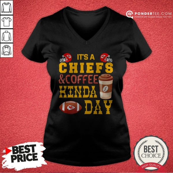 It's A Chiefs And Coffee Kinda Day V-neck - Desisn By Warmtees.com