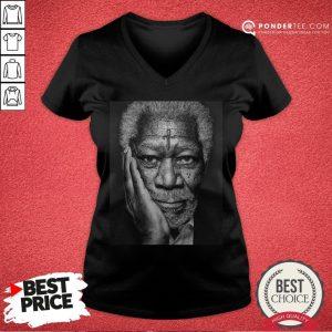 Morgan Freeman Photographed V-neck - Desisn By Warmtees.com