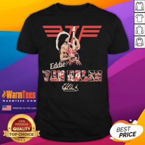 Official Eddie Van Halen Playing Guitar Signature Shirt - Desisn By Warmtees.com