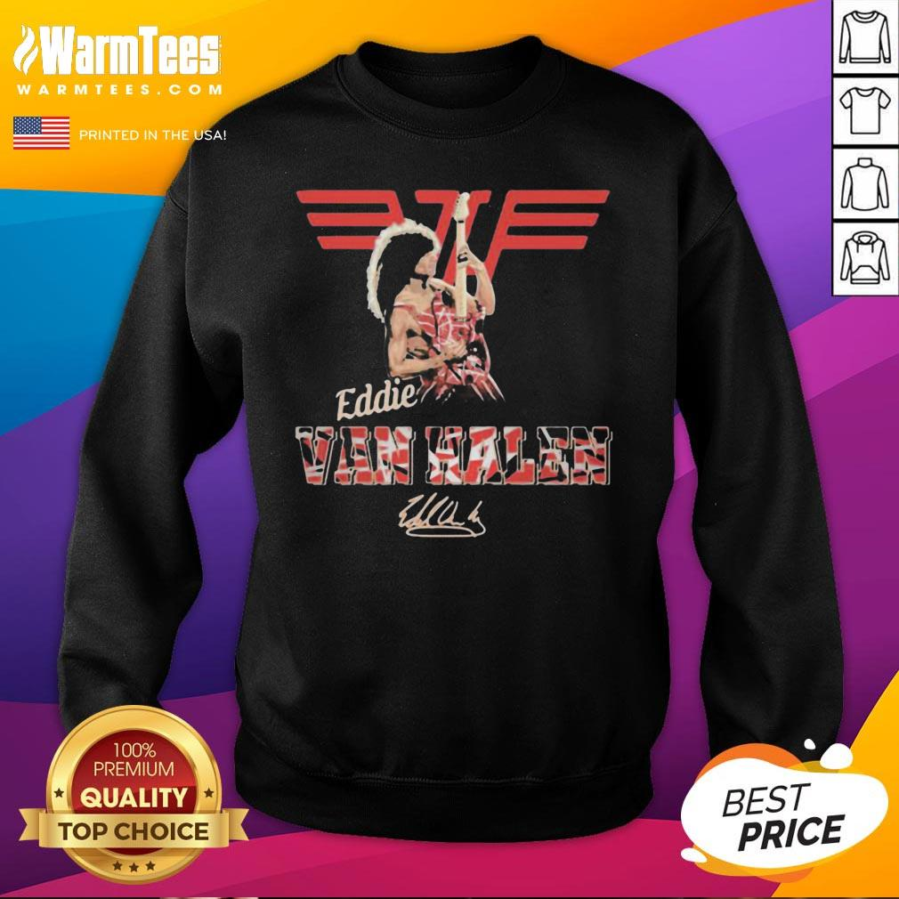 Official Eddie Van Halen Playing Guitar Signature Sweatshirt - Desisn By Warmtees.com