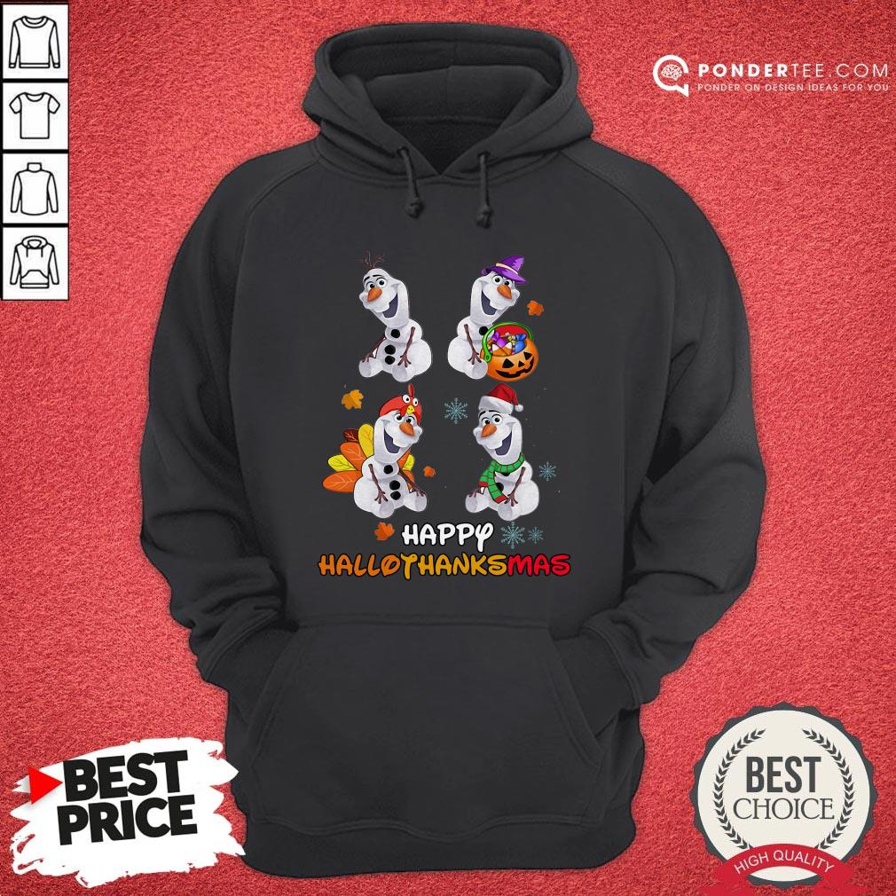 Olaf Halloween And Merry Christmas Happy Hallothanksmas Hoodie - Desisn By Warmtees.com