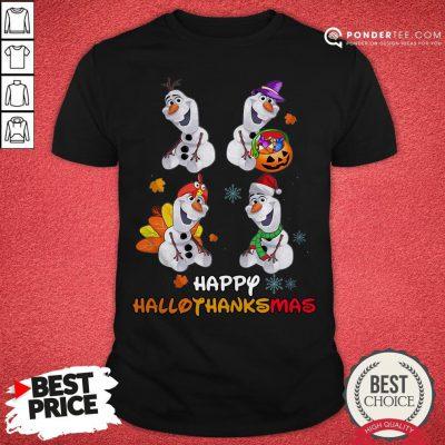 Olaf Halloween And Merry Christmas Happy Hallothanksmas Shirt - Desisn By Warmtees.com