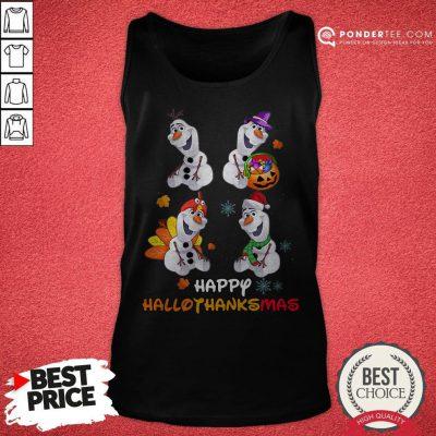 Olaf Halloween And Merry Christmas Happy Hallothanksmas Tank Top - Desisn By Warmtees.com