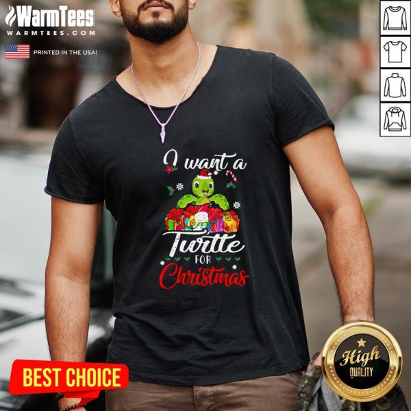 Perfect I Want A Turtle For Christmas V-neck - Design By Warmtees.com