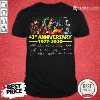 Star Wars 43rd Anniversary 1977 2020 Characters Signatures Shirt - Desisn By Warmtees.com
