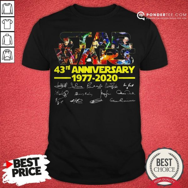 Star Wars 43rd Anniversary 1977 2020 Characters Signatures Shirt - Desisn By Warmtees.com