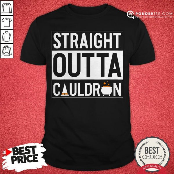 Straight Outta Cauldron Brew Witch Hat Halloween Funny Pun Shirt- Desisn By Warmtees.com