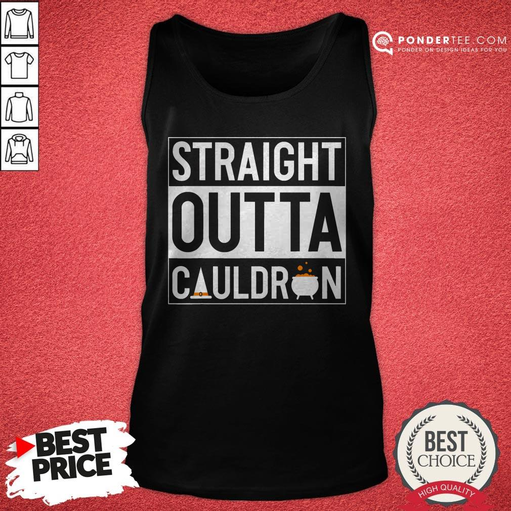Straight Outta Cauldron Brew Witch Hat Halloween Funny Pun Tank Top - Desisn By Warmtees.com